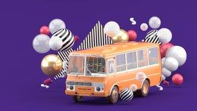 Orange Busse unter bunten Bällen auf einem purpurroten Hintergrund lizenzfreie abbildung