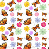 Orange butterflies with colorful flowers Stock Image