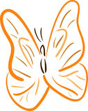 Orange Butterfly lineart Stock Image