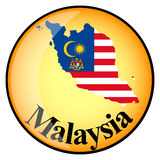 Orange button with the image maps of Malaysia Royalty Free Stock Photo