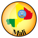 Orange button with the image maps of Mali Stock Photography