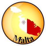 Orange button with the image maps of Malta Stock Photo