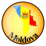 Orange button with the image maps of Moldova Royalty Free Stock Image