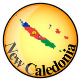 Orange button with the image maps of New Caledonia Royalty Free Stock Images