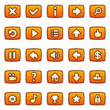 Orange buttons for game interface Royalty Free Stock Photography