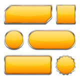 Orange Buttons. Set of different orange buttons on white background stock illustration