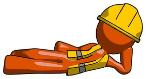 Orange byggnadsarbetare Contractor Man Reclined på sidan 3d Toon Render Stock Illustrationer