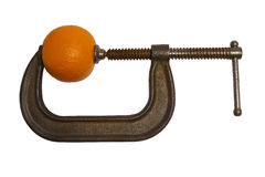 Orange In C Clamp Stock Photos
