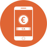 Orange ca acronym and euro sign design in a flat round button Stock Photo