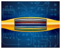Orange cable for internet with blue background. Cable stock illustration