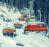Orange cableway at ski centre Jasna, Slovakia royalty free stock images