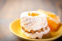 Orange Cake. Summer orange sponge cake with whipped cream Royalty Free Stock Photography