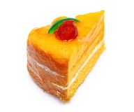 Orange cake. Isolated on white background Royalty Free Stock Images