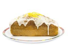 Orange cake. Delicious orange cake with icing Royalty Free Stock Photo