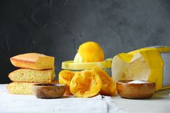 Orange cake or bread with ingreients on table royalty free stock photography