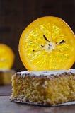 Orange cake with caramelized oranges, christmas decoration Royalty Free Stock Photo