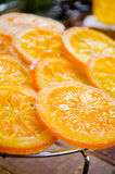 Orange cake with caramelized oranges, christmas decoration Stock Photography
