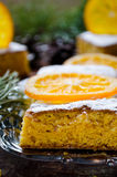 Orange cake with caramelized oranges, christmas decoration Royalty Free Stock Photography