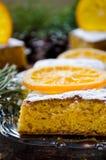 Orange cake with caramelized oranges, christmas decoration Royalty Free Stock Photography