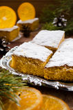 Orange cake with caramelized oranges, christmas decoration Royalty Free Stock Photos