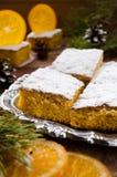 Orange cake with caramelized oranges, christmas decoration Royalty Free Stock Photos