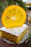 Orange cake with caramelized oranges, christmas decoration Royalty Free Stock Image