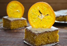 Orange cake with caramelized oranges, christmas decoration Stock Photo