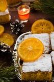 Orange cake with caramelized oranges, christmas decoration Royalty Free Stock Image