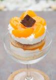 Orange cake in champagne coupe glass Stock Image