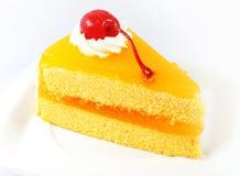 Orange cake with cherry Stock Photos