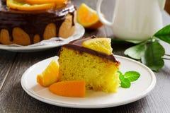 Orange cake with chocolate Stock Photos