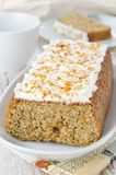 Orange cake with cream cheese frosting Royalty Free Stock Photos