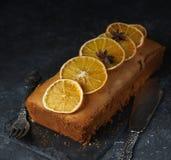 Orange cake, decorated with caramelized oranges Stock Photos
