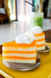 Orange cake. Dish on the table Stock Photography