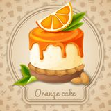 Orange cake emblem Royalty Free Stock Photo