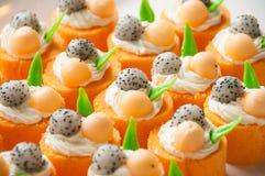 Orange cake för söt frukt Royaltyfria Bilder