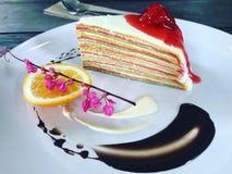 Orange and cake stock images