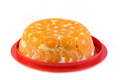 Orange cake on a plate. And white background Stock Image