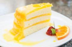 Orange Cake. Slice piece with strawberry Stock Photography
