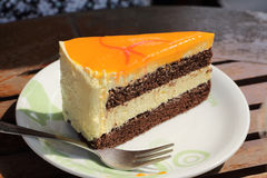 Orange cake slice Stock Photography