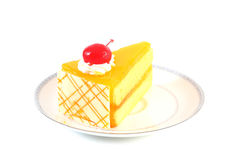 Orange Cake. On a white dish Stock Images