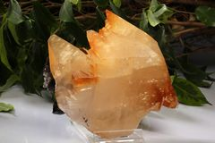 Orange calcite from Mexico geology rock stone.  Stock Photography