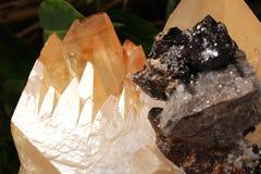 Orange calcite from Mexico geology rock stone.  Stock Photo