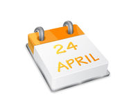 Orange Calendar Icon on Easter April 24th Stock Image