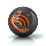 Orange call icon on black glossy sphere. 3d illustration on white background Stock Photos