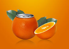 Orange can and half orange Royalty Free Stock Photo