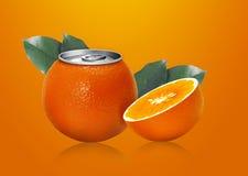 Orange can and half orange. Ideal for orange juice Royalty Free Stock Photo