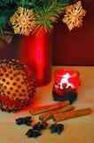 Orange and candle Royalty Free Stock Photo