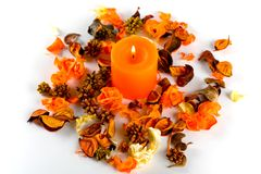 Orange candle and dry petals Royalty Free Stock Images