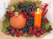 Orange candle with pumpkin and berries. Still life with burning candle and autumn berries and vegetables Royalty Free Stock Photo